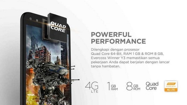 Harga Evercoss Winner Y3, Hp Android Sejutaan Usung 4G LTE